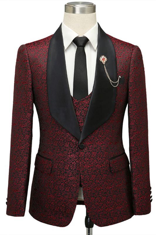 Cesar Burgundy One Button Shawl Lapel Jacquard Wedding Groom Suits