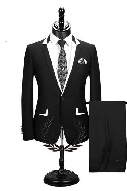 Erick Fashion Black Two Pieces Formal Business Men Suits Cheap
