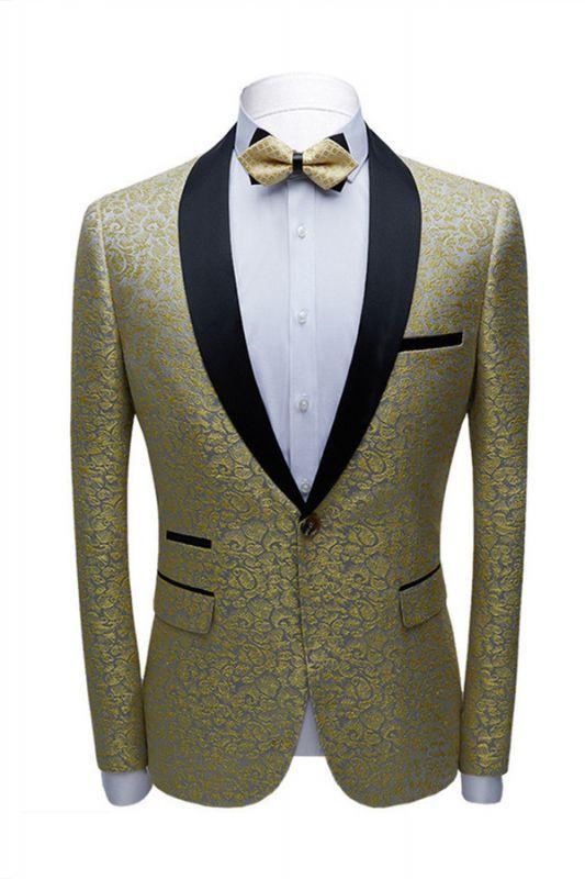 Keegan Gold Jacquard Slim Fit Prom Men Suits with Black Shawl Lapel