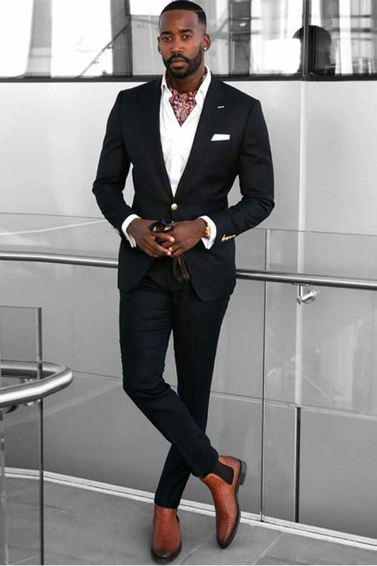Kai Black Peaked Lapel Slim Fit One Button Formal Men Suits