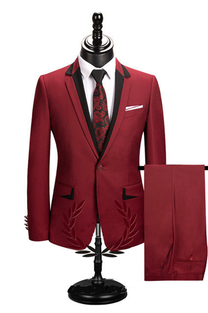 Jace Stylish Red Slim Fit Notched Lapel One Button Men Suits Online