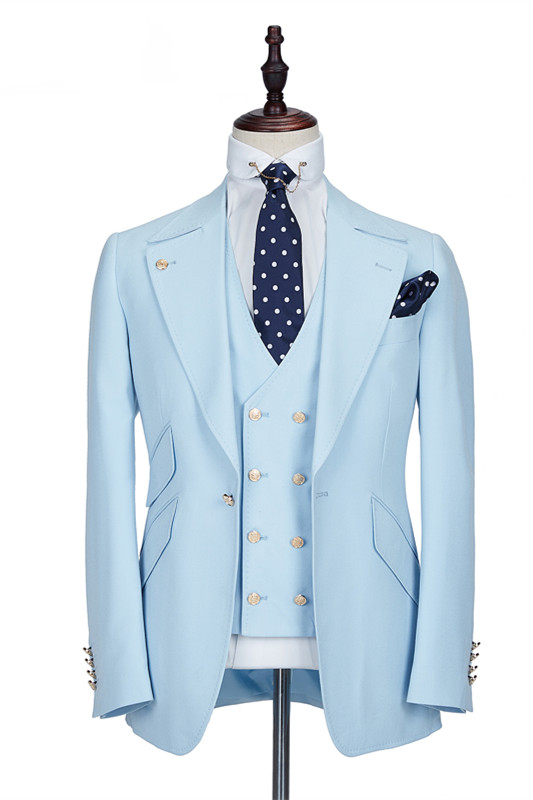 Andre Sky Blue Stylish Peaked Lapel Best Fit Men Suit for Prom