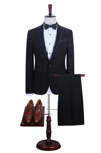 Manuel Simple Black One Button Fashion Men Suits Online