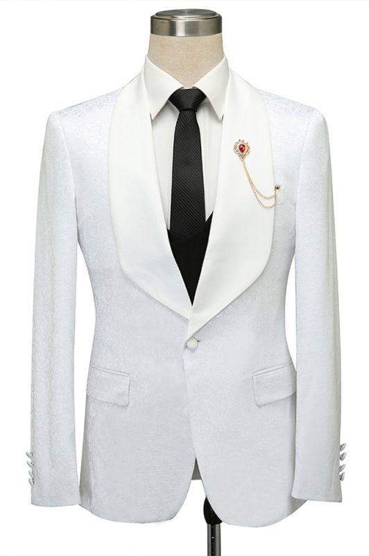 Miles White Jacquard Slim Fit Shawl Lapel Wedding Suits