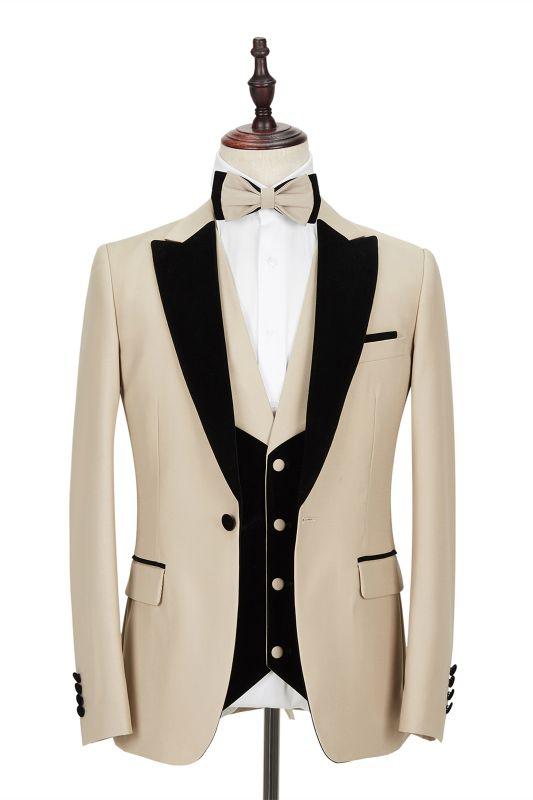 Black Peak Lapel Champagne Wedding Suit | Velvet Banding Edge Formal Suit for Men
