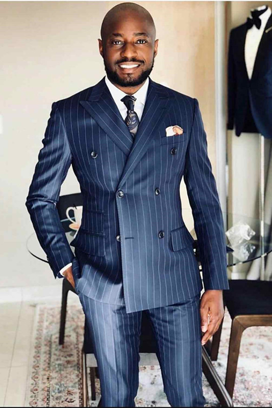 Israel Navy Blue Striped Peaked Lapel Double Breasted Formal Men Suits