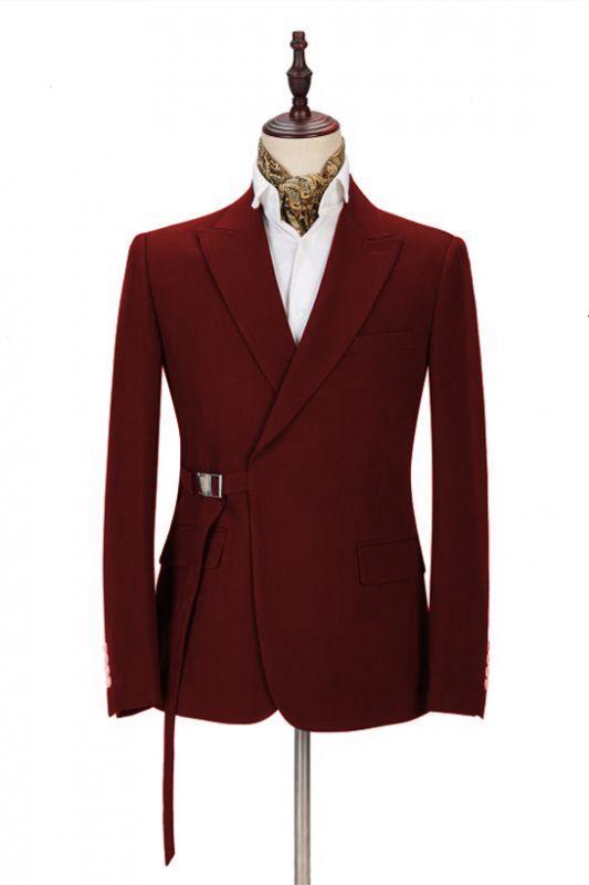 Stylish Peak Lapel Buckle Button Formal Burgundy 2 Piece Men's Casual Suit Online
