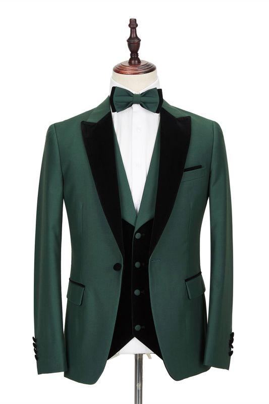 Black Peak Lapel Dark Green Men's Wedding Suit   Velvet Banding Edge Formal Suit