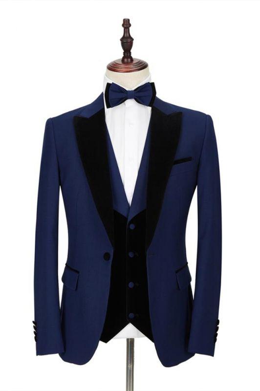 Dark Blue Peak Lapel Men's Wedding Suit | Velvet Lapel Formal Suit