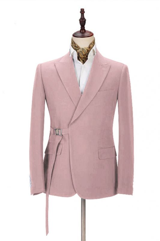 Chic Pink Men's Casual Suit for Prom   Buckle Button Formal Groomsmen Suit for Wedding
