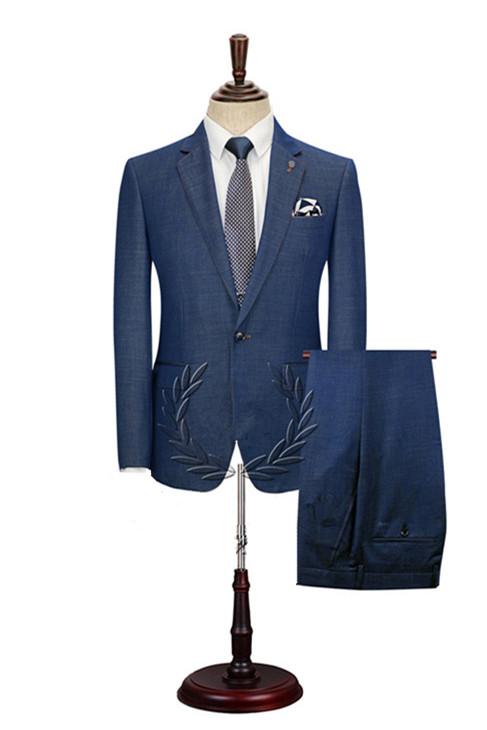 Stephen Dark Blue Cheap Simple Notched Lapel Men Suits Online