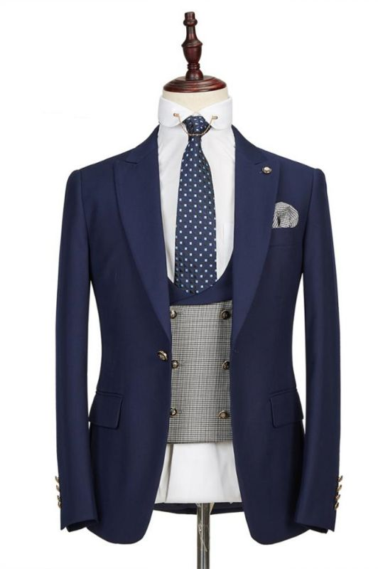 Maddox Navy Blue Peaked Lapel Formal Business Men Suits Online