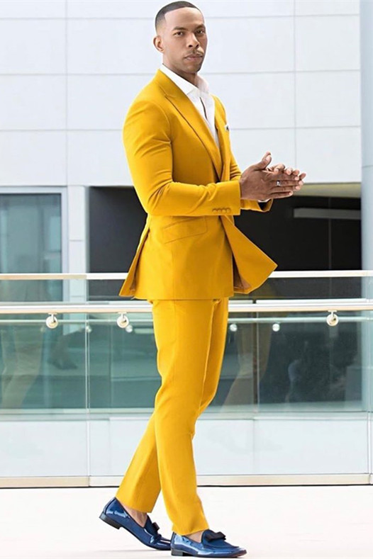 Trenton Yellow Double Breasted Peaked Lapel Prom Men Suits Online