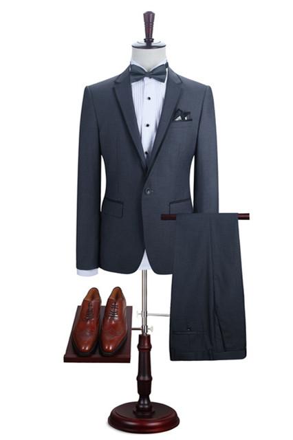 Kaiden Dark Gray Bespoke Formal Notched Lapel Business Men Suits