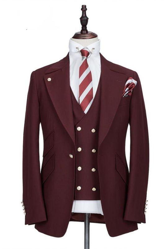 Harrison Burgundy Peaked Lapel One Button Men Suits