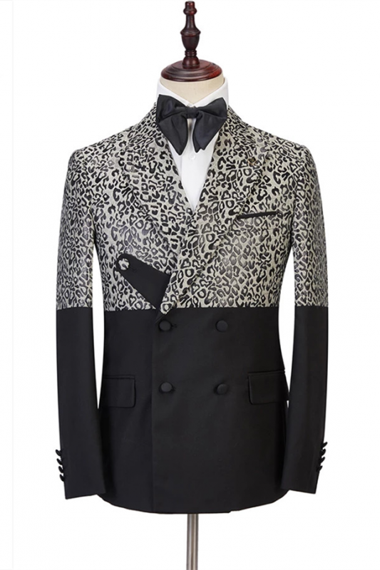 Ryder Cool Leopard Print Black Double Breasted Men Suits