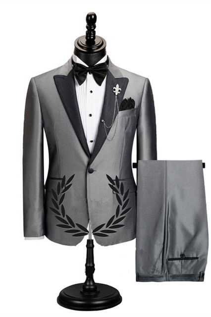 Shawn Gray Stylish Peaked Lapel Slim Fit Business Men Suits