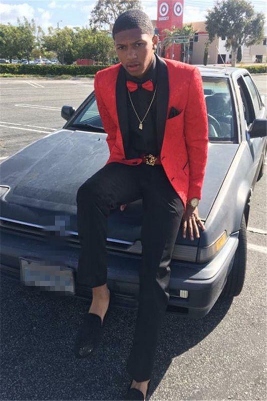 Red Men Suit Online   Jacquard Shawl Lapel Prom Party Suit