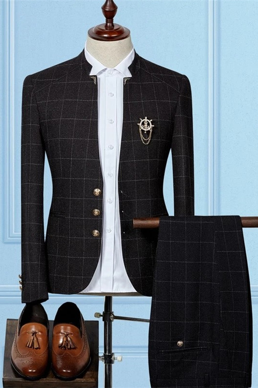 Skyler Black Slim Sit Plaid Stylish Two Pieces Men Suits Online