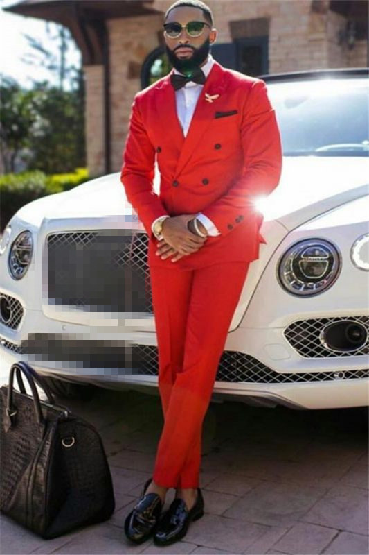 Liam Red Peaked Lapel Double Breasted Formal Business Men Suits