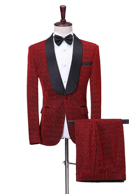 Kyler Shiny Red Shawl Lapel One Button Slim Fit Men Suits Online