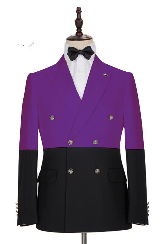 Emanuel Purple Double Breasted Peaked Lapel Prom Men Suits Online
