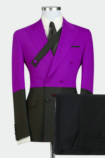 Dominick Newest Purple Double Breasted Peaked Lapel Men Suits Online