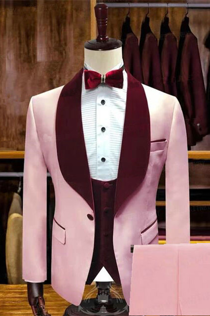 Tyson Candy Pink Stylsih Shawl Lapel Slim Fit Men Suits for Wedding
