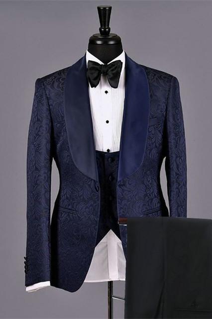 Lukas Dark Navy Jacquard Fashion Jacquard Bespoke Wedding Suits for Men
