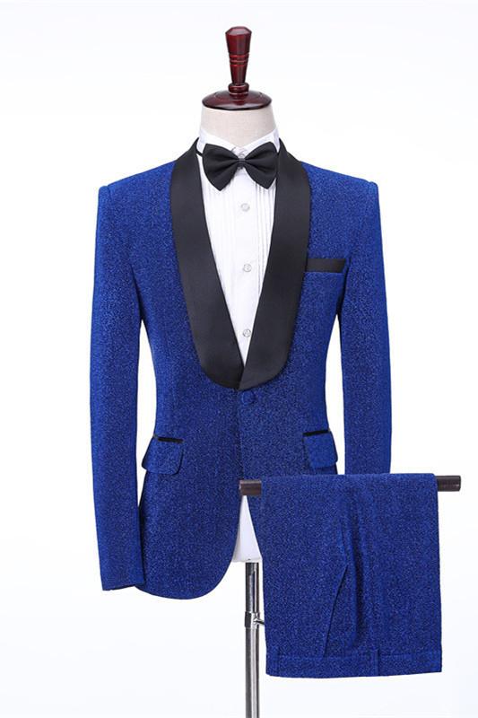 Kameron Royal Blue Shawl Lapel Shiny Slim Fit Wedding Men Suits