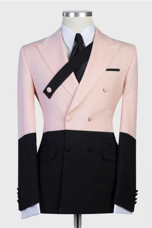 Rafael Pink and Black Double Breasted Peaked Lapel Men Suits
