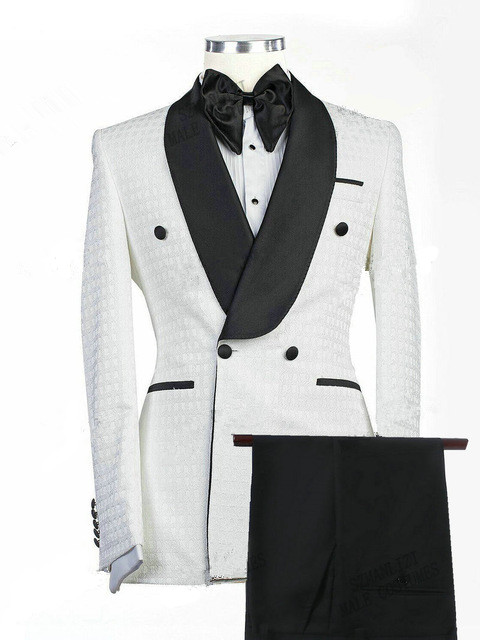 Drew White Jacquard Double Breasted Shawl Lapel Wedding Groom Suits