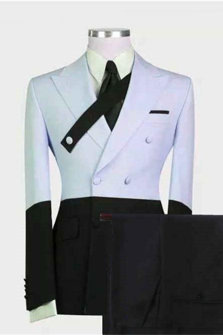 Devon Sky Blue Fashion Peaked Lapel Prom Men Suits Online
