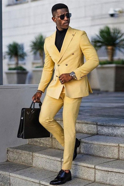 Jaxson Yellow Double Breasted Peaked Lapel Prom Men Suits