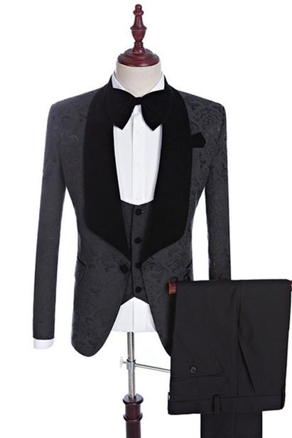 Xander Black Jacquard Three-Pieces Shawl Lapel Wedding Suits for Men