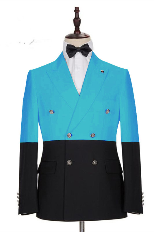 Aden Stylish Blue Double Breasted Slim Fit Men Suits Online