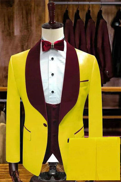 Pedro Yellow One Button Wedding Groom Suits with Velvet Lapel