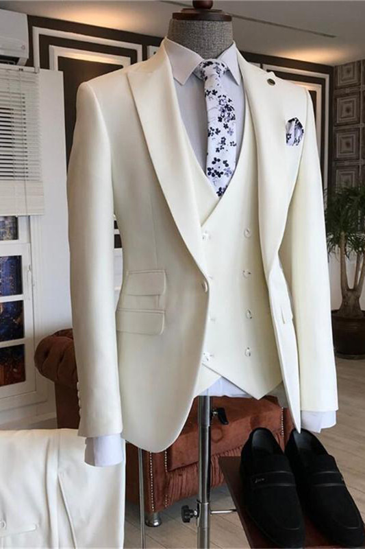 Caiden White Three Pieces Peaked Lapel Bespoke Men Suits for Wedding
