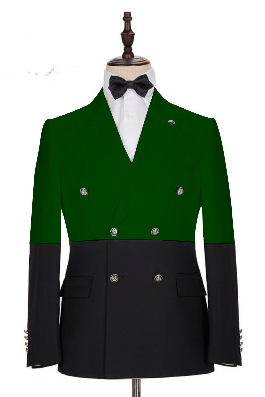 Marcos Dark Green and Black Bespoke Slim Fit Double Breasted Men Suits