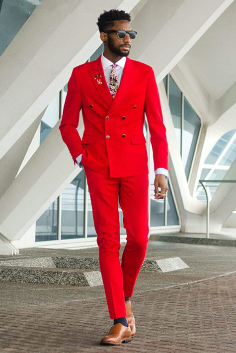 Skyler Red Peaked Lapel Double Breasted Men Suits for Prom