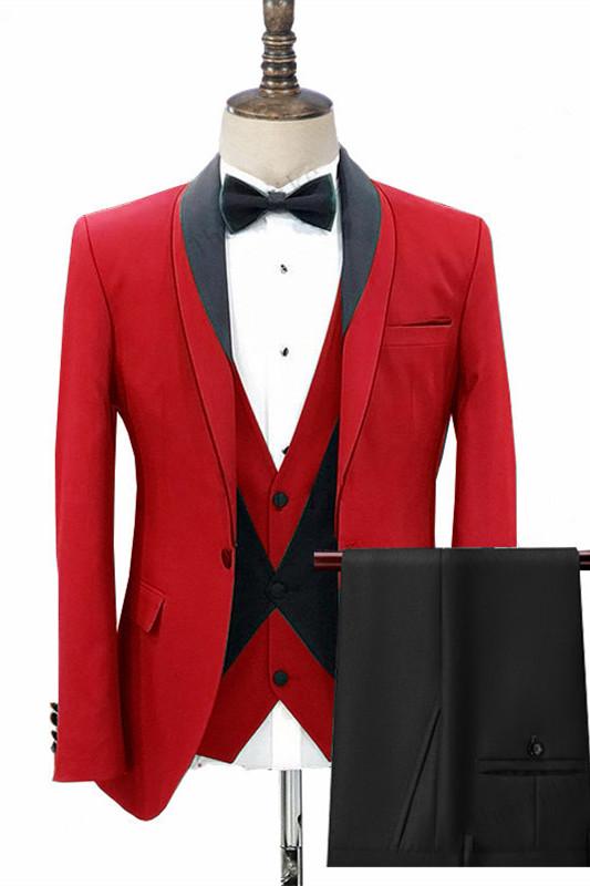 Jonas Red Three Pieces Fashion Shawl Lapel Men Suits for Wedding