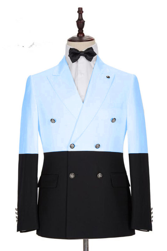 Simon Fashion Sky Blue Double Breasted Men Suits with Peaked Lapel