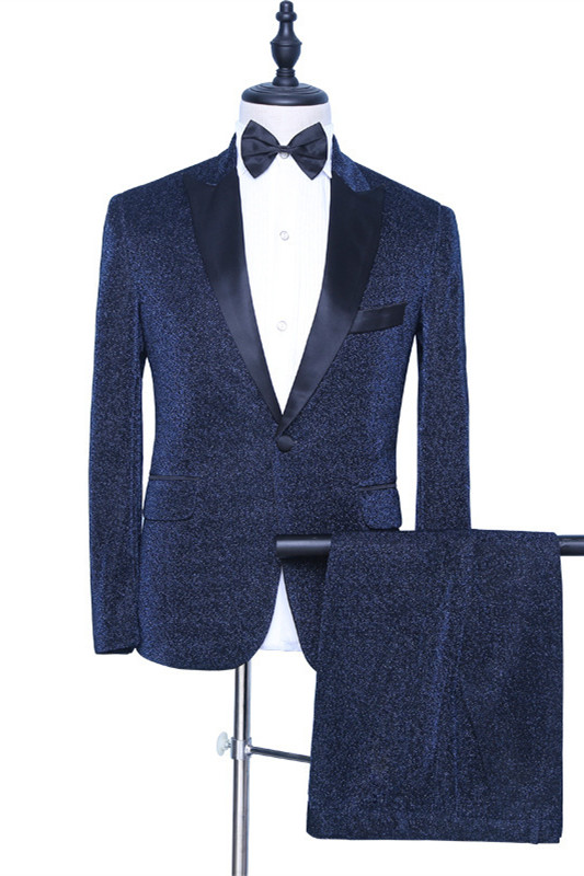 Payton Sparkly Dark Navy Peaked Lapel Fashion Men Suits for Prom