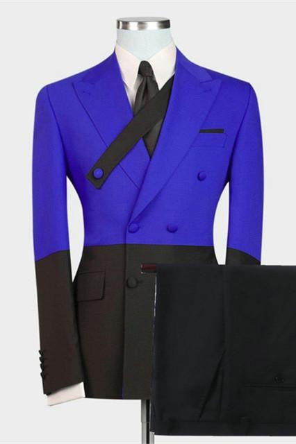 Ezekiel Royal Blue Double Breasted Peaked Lapel Prom Men Suits Online