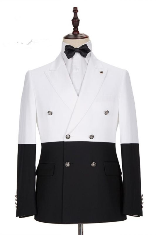 Morgan White and Black Peaked Lapel Double Breasted Jacket