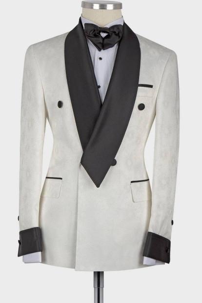 Jaxson White Shawl Lapel Double Breasted Fashion Slim Fit Wedding Groom Suit