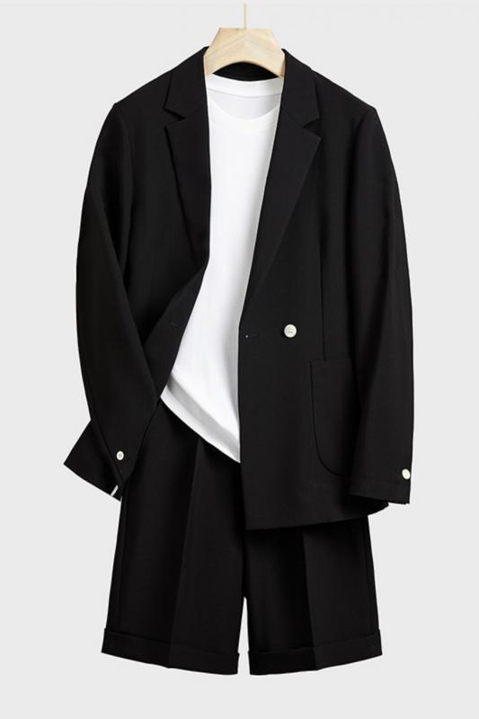 Uriel Black Stylish Notched Lapel Loose Summer Men Suits