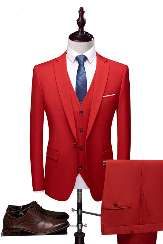 Red Fashion Notched Lapel Tuxedo | Bespoke Three Pieces Men Suits