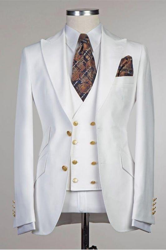 Salvador White Peaked Lapel Slim Fit Fashion Wedding Groom Suit