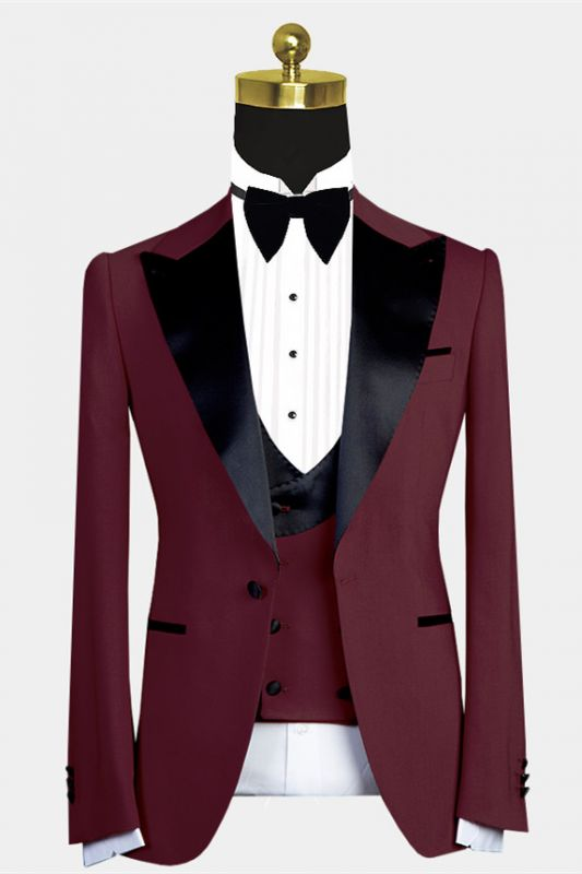 Bryant New Arrival Burgundy Slim Fit Prom Men Suits with Black Lapel